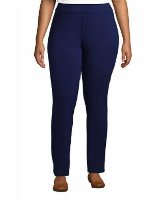 Women's Plus Size Starfish Mid Rise Slim Leg Elastic Waist Pull On Pants - Lands' End - Blue - 1X