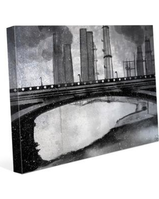 """Click Wall Art Industrial City Bridge Painting Print on Wrapped Canvas IND0000105CAN Size: 11"""" H x 14"""" W x 1.5"""" D"""