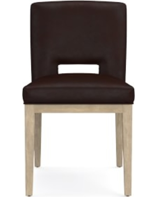 Saratoga Dining Side Chair, Tuscan Leather, Chocolate, Heritage Grey Leg