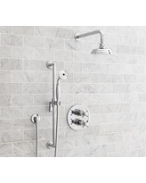 Reyes Thermostatic Cross-Handle Hand-Held Shower Faucet Set, Chrome Finish