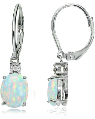 Glitzy Rocks Sterling Silver Created White Opal and Diamond Accent Oval Dangling Leverback Earrings (Created Opal)