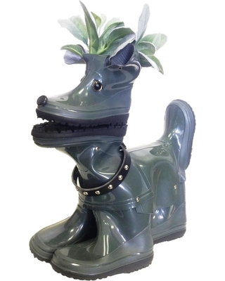 HOMESTYLES 15 in. Lily the Boot Buddies Dog Sculpture and Planter Home and Garden Loyal Companion Statue