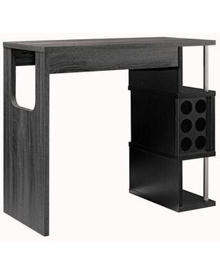 BM204136 Transitional Style Wooden Bar Table with 3 Tier Side Shelves