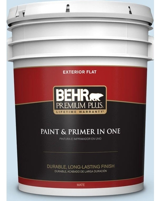 BEHR Premium Plus 5 gal. #M520-1A Soft Cloud Flat Exterior Paint and Primer in One