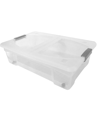 Modern Homes 7.4 Gal. Storage Box in Clear Bin with Grey Handles with cover