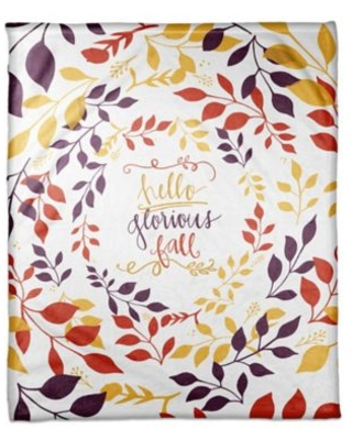 """Designs Direct """"Hello Glorious Fall"""" Throw Blanket in Yellow"""