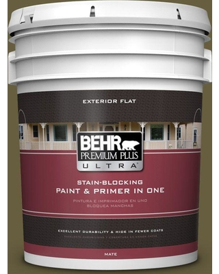BEHR ULTRA 5 gal. #ICC-88 Classic Olive Flat Exterior Paint and Primer in One