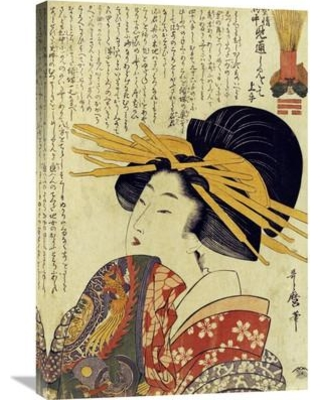 Global Gallery 'A Courtesan Raising Her Sleeve' by Kitagawa Utamaro Painting Print on Wrapped Canvas GCS-267475-30-142
