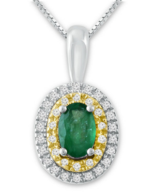 665ced8aa New Savings on Emerald Necklace 1/10 ct tw Diamonds Sterling Silver ...
