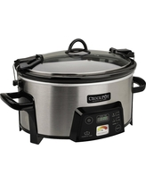 Crock-Pot Cook & Carry Digital Slow Cooker with Heat saver Stoneware, Brushed Stainless Steel, SCCPCTS605-S, Medium Silver