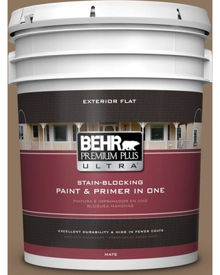 BEHR Premium Plus Ultra 5 gal. #700D-6 Belgian Sweet Flat Exterior Paint and Primer in One