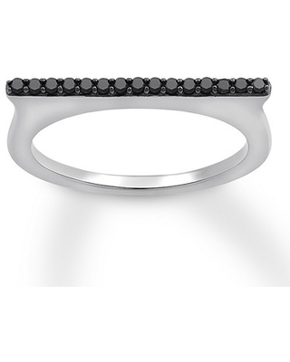 Black Diamond Flat Top Ring 1/6 ct tw Round-cut Sterling Silver