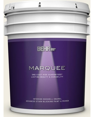 BEHR MARQUEE 5 gal. #QE-01 Jet White Eggshell Enamel Interior Paint and Primer in One