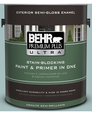 BEHR ULTRA 1 gal. #PPU13-13 Oslo Blue Semi-Gloss Enamel Exterior Paint and Primer in One