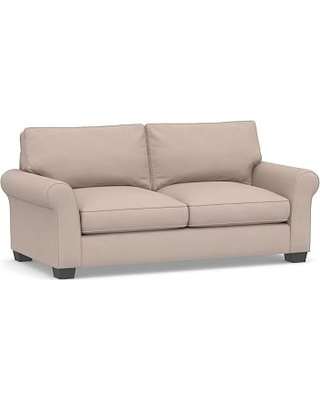 "PB Comfort Roll Arm Upholstered Sofa 80"", Box Edge Down Blend Wrapped Cushions, Performance Heathered Tweed Desert"