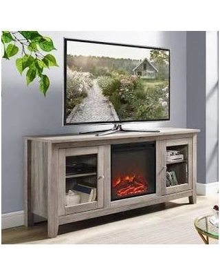 """58"" Wood Media TV Stand Console with Fireplace in Grey Wash - Walker Edison W58FP4DWGW"""
