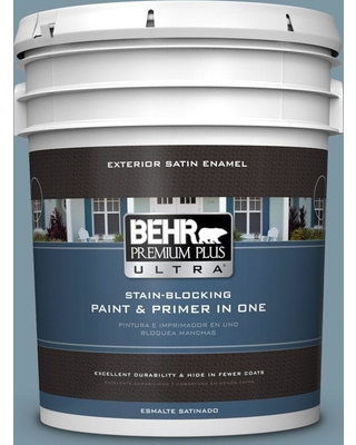 BEHR Premium Plus Ultra 5 gal. #530F-5 Waterscape Satin Enamel Exterior Paint and Primer in One