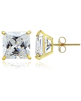14k Gold and Cubic Zirconia Stud Earrings (Square 8MM)