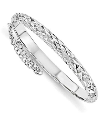 Primal Silver Sterling Silver Rhodium Plated Diamond Cut with Safety Hinged Child's Bangle