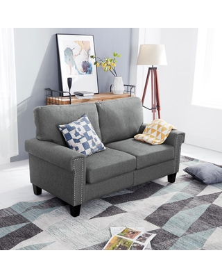 FESTIVAL TRADING INC 61 in. Dark Gray Polyester 2-Seater Loveseat with Removable Cushions