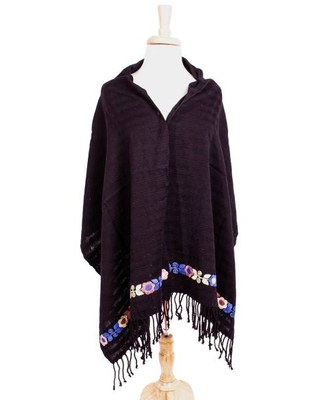 Handwoven Black Floral Embroidered Cotton Shawl from Mexico