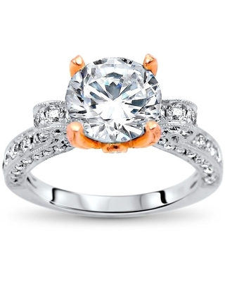 2.30ct Round Moissanite and Diamond Engagement Ring 18k Rose & White Gold (5.5)