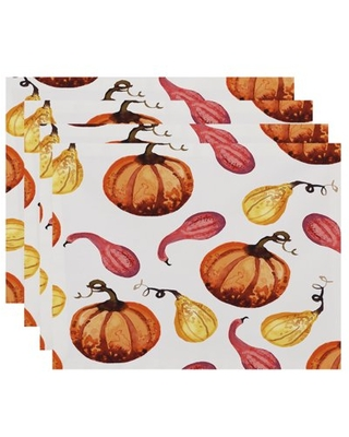 Simply Daisy Gourds Galore 18 x 14 Inch Cream Fall Print Placemat (Set of 4)