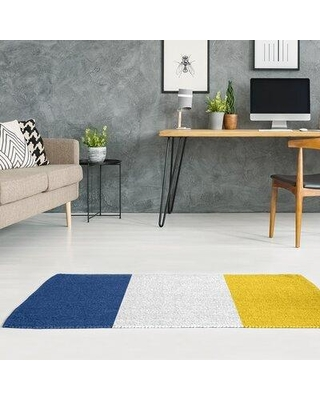 East Urban Home La Horns Throwback Football Blue/White Area Rug FCJK9373 Rug Size: Rectangle 5' x 7' Backing: Yes