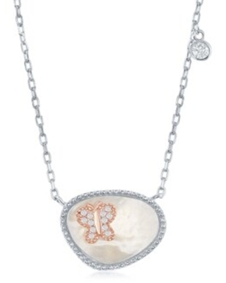 La Preciosa Sterling Silver Oval Mother Of Pearl and Rose Gold/ Heart/Circle/Butterfly CZ 16+2'' Necklace. (butterfly)