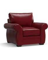 Pearce Leather Armchair, Down Blend Wrapped Cushions, Leather Signature Berry Red