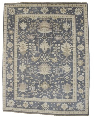 Hapeville Oriental Hand Knotted Wool Muted Gray Area Rug Canora Grey