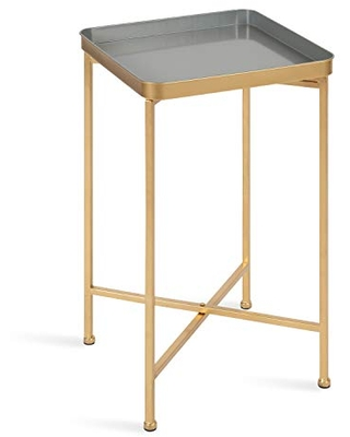Kate and Laurel Celia Modern Square Tray Side Table, 14 x 14 x 26, Gray and Gold, Foldable Metal Accent Table for Storage and Display