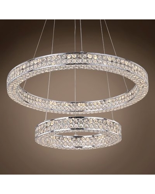 Alexa LED Cluster Tiered Pendant Everly Quinn