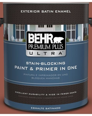 BEHR ULTRA 1 gal. #BIC-47 Caliente Satin Enamel Exterior Paint and Primer in One