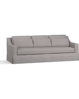 """York Slope Arm Slipcovered Deep Seat Grand Sofa 95"""" with Bench Cushion, Down Blend Wrapped Cushions, Performance Twill Metal Gray"""