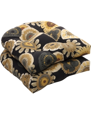 Charmant Outdoor 2 Piece Wicker Chair Cushion Set   Black/Yellow Floral