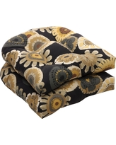 Outdoor 2-Piece Wicker Chair Cushion Set - Black/Yellow Floral