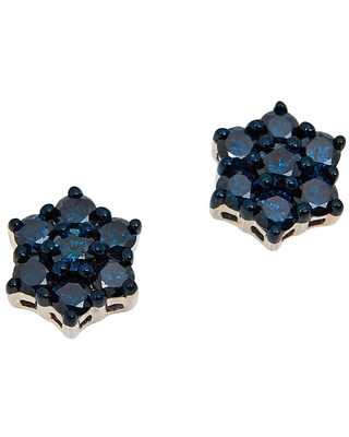 Colleen Lopez Collection Colleen Lopez Sterling Silver Colored Diamond Floral Stud Earrings
