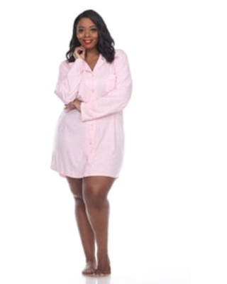 White Mark's Plus Size Long Sleeve Nightgown