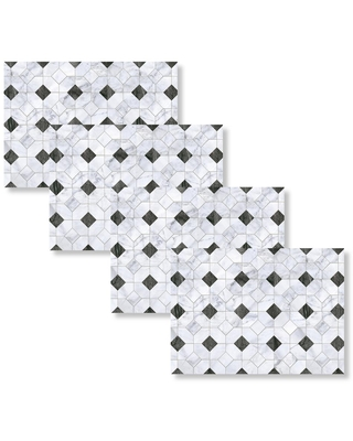 Morgan Home Fashions Black and White Marble Octagon 18 in. W x 13 in. L Polypropylene 4-pack Placemat Set