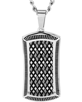 Crucible Men's High Polish Stainless Steel Antiqued Dog Tag Pendant, Black/Silver