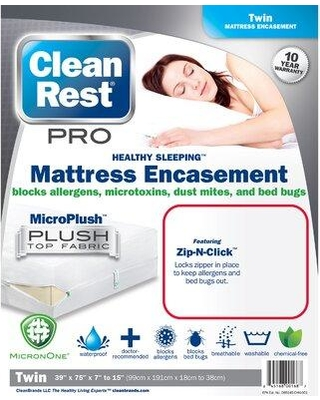 CleanRest Pro Hypoallergenic Waterproof Mattress Cover (Set of 4) 845168001687 Size: Twin