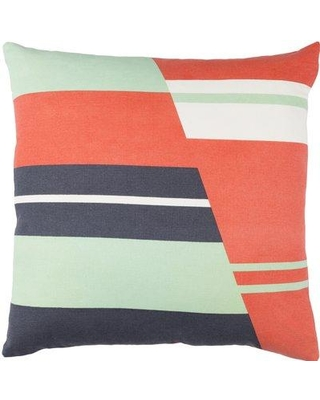 "Ivy Bronx Clio Square Zipped Cotton Throw Pillow IVYB7129 Size: 20"" H x 20"" W x 4"" D Color: Orange / Charcoal / Mint / White"