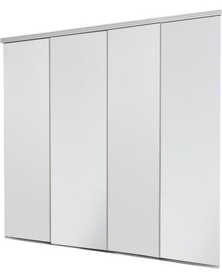 Remarkable Deals On Impact Plus 144 In X 84 In Smooth Flush White Solid Core Mdf Interior Closet Sliding Door With Chrome Trim
