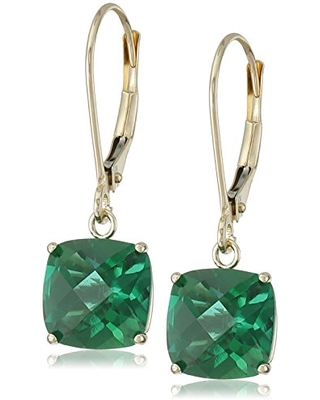 Amazon Collection 10k Yellow Gold Cushion-Cut Checkerboard Created Emerald Leverback Earrings (8mm)