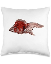 taiche Ryukin Goldfish Artistic and Isolated Throw Pillow, 16x16, Multicolor