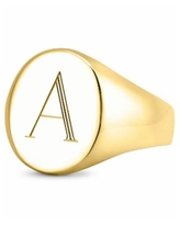 Sarah Chloe Initial Signet Ring in 14K Gold-Plated Sterling Silver - A