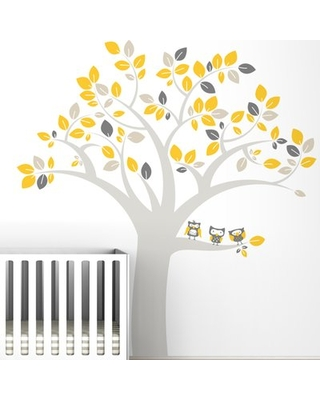Trees Owl Extra Large Wall Decal LittleLion Studio Color: Warm Gray / Yellow / L.Beige / M.Gray