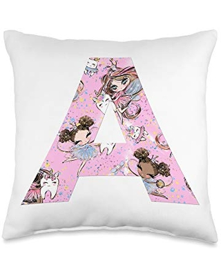 Tooth Fairy Pillow's Gifts & Accessories for Girls Monogramm A I Cute Pink Tooth Fairy & Princess Bedroom Decor Throw Pillow, 16x16, Multicolor