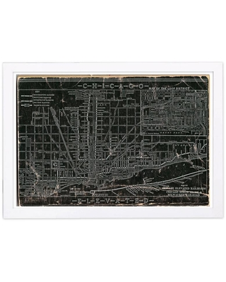 """The Oliver Gal Artist Co. """"Chicago Railroad"""" Framed Maps and Flags Art Print 13 in. x 19 in., Black"""